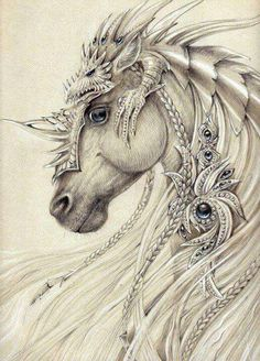 Elven Horse ~by Anwaraidd Nahar The dragon on top is awesome armor! Horse Drawings, Art Drawings, Fantasy Drawings, Pencil Drawings, Drawing Drawing, Pencil Art, Drawing Ideas, Art Sketches, Fantasy Kunst