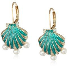 """Betsey Johnson """"Jewels of the Sea"""" Sea Shell Drop Earrings ($30) ❤ liked on Polyvore featuring jewelry, earrings, accessories, betsey johnson jewelry, blue drop earrings, jeweled earrings, seashell jewelry and drop earrings"""