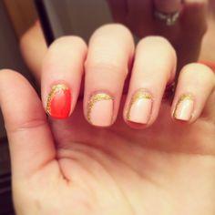 Pinks and gold nail art