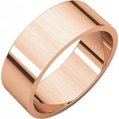 14k Rose Gold 6mm Classic Flat Wedding Band - Sarraf.com