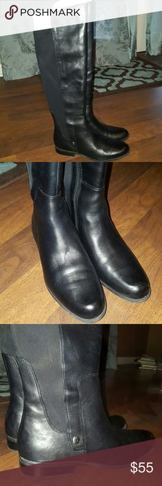 Genuine Leather Boots. Anne Klein 10 1/2 Genuine Leather Boots. These are like new. I've worn them outside 2 times, but they're just too big on my feet. Very soft and beautiful. They gave the stretch material on the back side of the shift, so they're comfortable on your legs. Sole is non-slip rubber. Great boots... I'm reordering them in a 10 because I love them so much. Box included. Anne Klein Shoes
