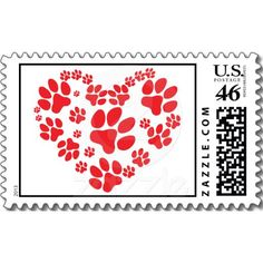 Valentine Paw Prints On My Heart Stamps