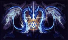 Dragon Kiss Cross Stitch Pattern - Coalescing from the smoke and shadows, two mystical dragons are lit by the golden glow of the pentacle which unites them. Based on artwork by Emer. This pattern measures 432 stitches wide by 16 stitches high.