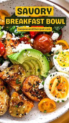 Delicious Breakfast Recipes, Savory Breakfast, Breakfast Bowls, Easy Dinner Recipes, Breakfast Ideas, Real Food Recipes, Vegetarian Recipes, Healthy Recipes, Good Morning Breakfast