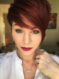velour liquid lipstick by jeffreestar Makeup in 2019 Short hair styles, Violet Pixie Rot, Red Pixie, Short Pixie, Short Hair Cuts, Short Hair Styles, Red Violet Hair, Peinados Pin Up, Mom Hairstyles, Hair Color And Cut
