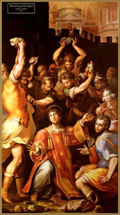 Giorgio Vasari : Martyrdom of Saint Stephen (Pinacoteca Vaticana (Holy See (Vatican City State) - Vatican City)) ジョルジョ・ヴァザーリ Giorgio Vasari, Catholic Art, Catholic Saints, Catholic Blogs, Roman Catholic, Saint Stephen, Italian Painters, Italian Renaissance, Renaissance Art
