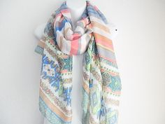 Color Block spring scarf Oblong Paisley scarf by myfashioncreations, $18.00