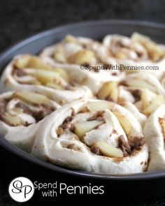 Easy Glazed APPLE CINNAMON ROLLS!  Apple pie meets soft gooey cinnamon rolls for the best rolls you've ever had!  Quick & easy, this starts with frozen bread dough and fresh apples!