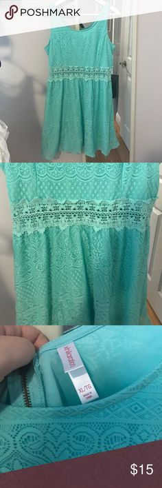 Teal Lace Dress Beautiful dress for summer, lace with see through lace waist Xhilaration Dresses Midi
