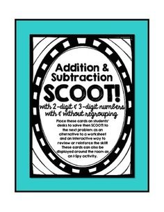 Use this set of 28 3-Digit Subtraction SCOOT cards as an interactive way to review and reinforce addition and subtraction skills with and without the use of regrouping.  Students will be required to solve problems with both two-digit and three-digit numbers as well as subtract across zeros.There are many ways to utilize these cards:1) SCOOT!