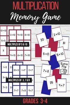 Multiplication - Memory Match Game (Multiples of 9 & Multiplication Activities, Math Activities, Division Activities, Fun Math, Maths, Thinking Skills, Critical Thinking, Third Grade Math, Fourth Grade