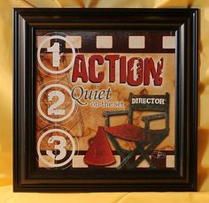 Action Quiet On The Set Director Chair Framed Wall Art Home Theater Movie Decor. ~ SOLD!!