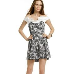 Thakoon Winter Rose dress Black/white, size 10. Wore this dress twice. Sleeves off the shoulder. Cute and fun...perfect for a bridal shower or summer wedding. Thakoon Dresses