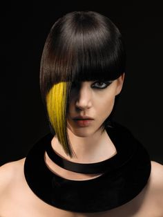 Modern Geometry by Steve Waldman. / Short hair with a yellow streak in the bangs.