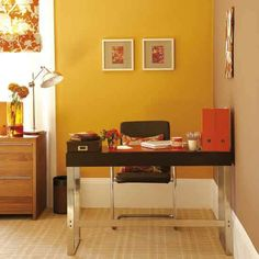Wohnideen  Arbeitszimmer Home Office Büro - Zingy gelb Home-Office