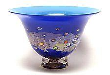 Azure Blue and Cobalt Blossom Bowl by Ken Hanson and Ingrid Hanson (Art Glass Bowl)