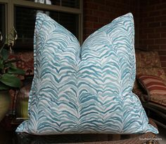 The fabric is Serengeti Seaside by Lacefield Mills (100% medium weight cotton). Pillow shown as a 1/2 sham edge.  The price is for ONE (select