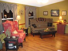 Primitive+Decor+Rooms | Colonial Primitive Living Room - Living Room Designs - Decorating ...