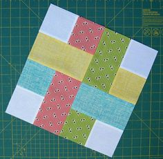"Updated Tutorial Tuesday: Simple square and rectangle block. Cut : Eight (8) 2 1/2"" x 2 1/2"" squares and Four (4) 2 1/2"" x 4 1/2"" rectangles. Sew: Using a 1/4"" seam sew together two (2) squares and then sew the two squares to one (1) rectangle. Continue with the other squares and rectangles.  Sew: Using 1/4"" seam sew together each square/rectangle piece together as shown in the picture.  You will end up with this beautiful block measuring 8 1/2"" by 8 1/2"" You're on your way to a fabulous…"