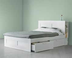 IKEA headboards for beds such as B. BRIMNES headboard with shelf, white Ikea Headboard, Headboard With Shelves, Bed Frame With Storage, Ikea Bedroom, Small Room Bedroom, Headboards For Beds, Home Bedroom, Small Bedroom Storage, Bed Storage