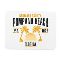 Pompano Beach Magnet - vintage gifts retro ideas cyo