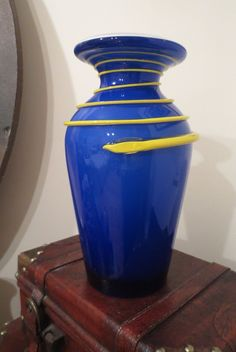 Vintage Modern Cased Murano Glass Vase Carlo Moretti Blue Yellow Swirls | eBay