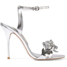 Sophia Webster Lilico appliquéd metallic leather sandals (2.275 BRL) ❤ liked on Polyvore featuring shoes, sandals, heels, silver, buckle sandals, ankle wrap sandals, metallic leather sandals, leather sandals and metallic high heel sandals