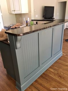 Kitchen Adding Beadboard to the Bar - Southern Hospitality A Clear View On Vinyl Window Options Arti Basement Renovations, Home Renovation, Home Remodeling, Basement Ideas, Kitchen Remodeling, Basement Bars, Kitchen Island Makeover, Kitchen Redo, Kitchen Islands