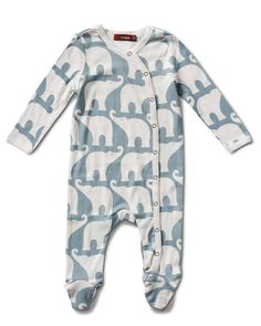 Made with GOTS certified Organic Cotton. Snap leg closure. Imported. Available 0/3M and 3/6M
