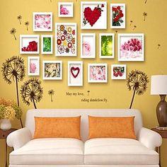 Coleção Quadro Branco Cor Photo Wall conjunto de 15 com Dandelion adesivos de parede – BRL R$ 213,47