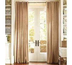 Style for french door curtains in family room.