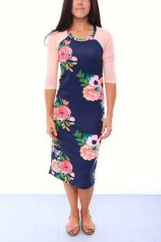 Raglan Sleeve Nursing Dress - Floral Print/Peach in XL $110