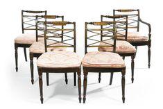 A suite of Regency ebonised seat furniture