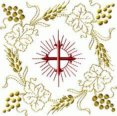 Cross in Square Wreath embroidery designs