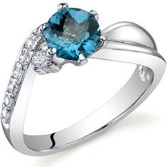 Ethereal Curves 1.00 carats London Blue Topaz Ring in Sterling Silver Rhodium Finish Size 5 to 9 -