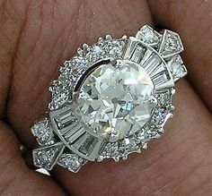 Diamond RingVintageArt Deco 1.76ctTW J by myvintagediamondring, $16500.00...
