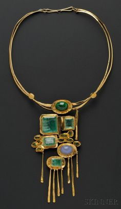Necklace: 24kt and 18kt Gold Gems | c. 1978, designed as a plaque of bezel-set emeralds, peridot, and blue chalcedony, and green hardstone cabochon, suspended from a torque, plaque lg. 6 in., signed. | Artist: Miye Matsukata, Janiye