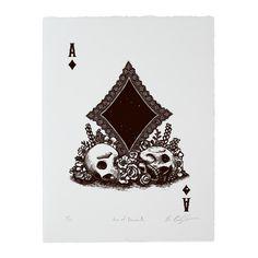 PRE-ORDER: Calaveras Ace of Diamonds Woodcut Print