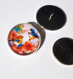 """Birds Floral 1"""" Glass Dome Button handcrafted shank sew or pin on photo art  