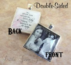 Double Sided Custom Photo Wedding Bouquet Charm Custom Picture Wedding Charm Heaven Poem on Back In Memory Picture Necklace Key Chain by LittleGemGirl on Etsy https://www.etsy.com/listing/154610116/double-sided-custom-photo-wedding