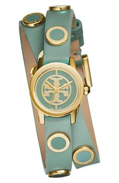 Tory Burch 'Reva Mini' Logo Dial Double Wrap Leather Strap Watch, 21mm available at #Nordstrom