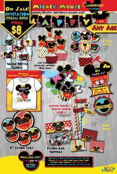 On Sale! Mickey Mouse Clubhouse Birthday Package, Mickey Mouse birthday, Mickey Mouse Party, First birthday, Mickey Mouse birthday printable Decorations  Now with Optional Birthday Iron on T-shirt Design!  ANY AGE CAN BE CUSTOM DESIGNED! ============================= IMPORTANT NOTES Read before checking out PLEASE! =====&#x3D...
