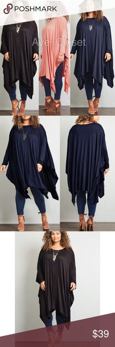 Plus size oversized shark bite top tunic 3 colors New Plus size oversized, loose fit shark bite top tunic. 3 colors to choose from, black,indigo or Marsala. Super soft and comfy . Stretchy fabric. Long sleeves. Deep side sit . Asymmetrical shark bite hem hi low turn top.Fabric Content: Rayon +spandex  ‼price is firm unless bundle ‼ Tops Tunics