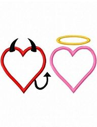 Devil and Angel Heart Applique - 3 Sizes! | Angels | Machine Embroidery Designs | SWAKembroidery.com