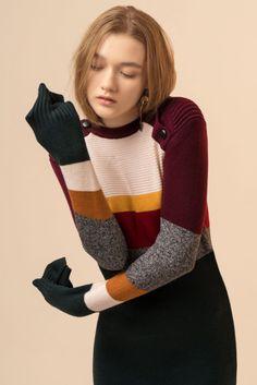 Striped Stretch Wool Blend Mini Dress