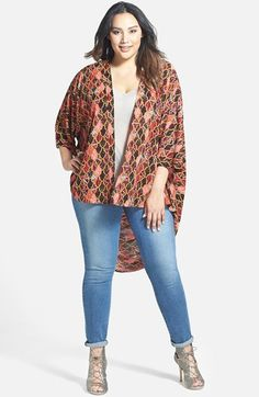 Sejour+Crepe+High/Low+Kimono+(Plus+Size)+available+at+#Nordstrom