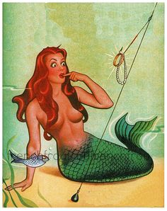 vintage pinup mermaid fishes illustration by FrenchFrouFrou
