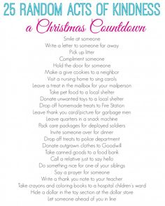 Good Deed Christmas Countdown  Going to do this instead of advent calendar with Bible verses