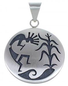 Silver Kokopelli Corn Stalk G. Phillips Hopi Pendant www.nativeamericanjewelry.com