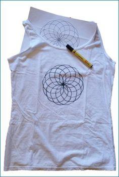 fabric painting - mandala traced on t-shirt